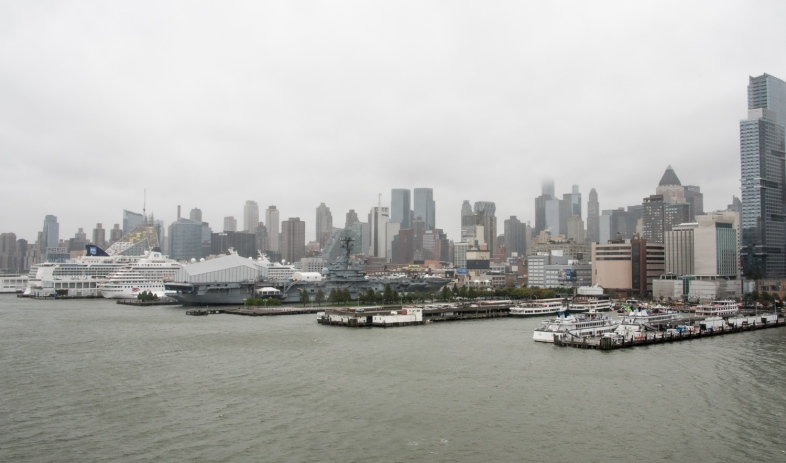 The view to the north along the Hudson River from Chelsea, New York, New York, USA