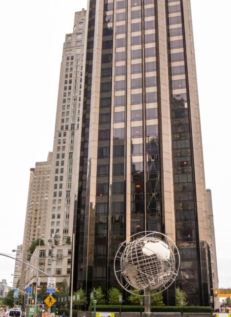 Trump International Hotel & Tower and the world globe at Columbus Circle, New York, NY, USA