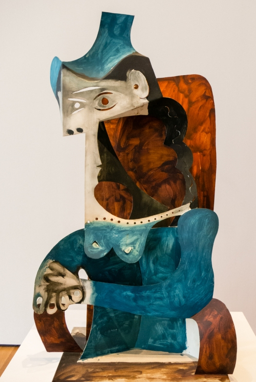"""Woman with Hat"". Cannes, 1961-Mopugins, 1963.  Painted sheet metal.  Fondation Beyeler, Riehen-Basel, Beyeler Collection.  In ""Picasso Sculpture"", MOMA, New York, NY, USA"