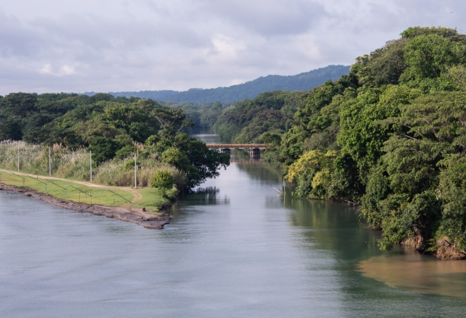 A remnant of the French company's diggings in Panama in the 1880s -- a now unused channel, visible from the American-dug channel, just before the Caribbean entrance to the Gatun locks; Panama Canal, Panama