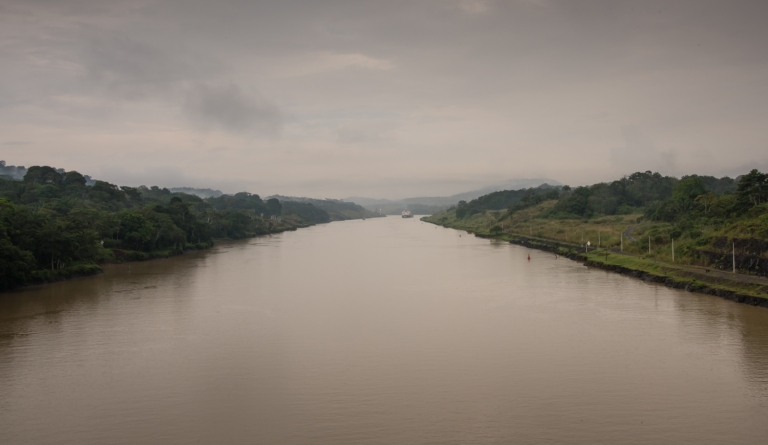 A straight, man-made channel that is part of the 7.8 mile (12.6 kilometres) long Culebra Cut; Panama Canal, Panama