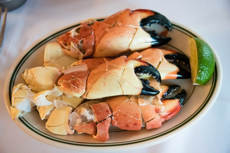 An a la carte order of Large Stone Crabs at Joe's Stone Crab Restaurant, Miami Beach, Florida, USA