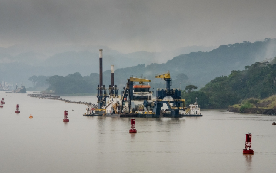 Approaching the Continental Divide and the infamous Culebra Cut, we passed several current significant dredging operations to keep the channel open for the larger ships; Panama Canal, Panama