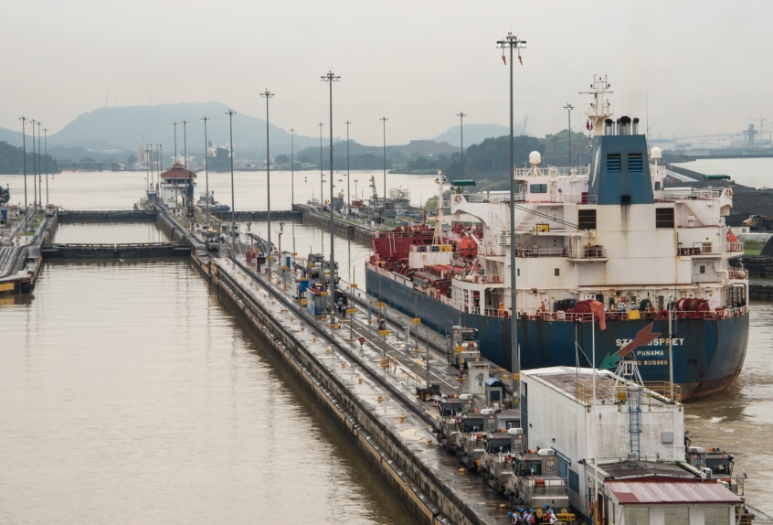 Approaching the single Pedro Miguel lock that will begin our descent to the Pacific Ocean; Panama Canal, Panama