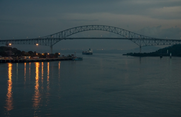 As dusk turned to night, we sailed under the Bridge of the Americas and into the Pacific Ocean; Panama Canal, Panama