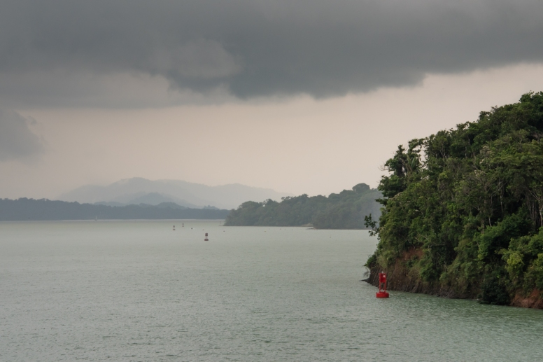 As we began sailing south across Lake Gatun, we encountered an hour-plus series of powerful and drenching thunderstorms; Panama Canal, Panama
