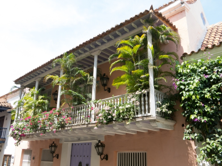 Beautifully decorated residential balcony, Old City, Cartagena, Colombia
