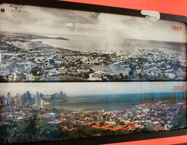 BioMuseo -- Panoramas of Panama City in 1907 during the American construciton of the canal and a century later; Panama City, Panama