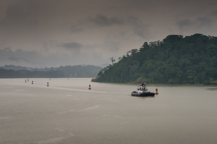 By mid-afternoon on Lake Gatun the worst of the thunderstorms were behind us; Panama Canal, Panama