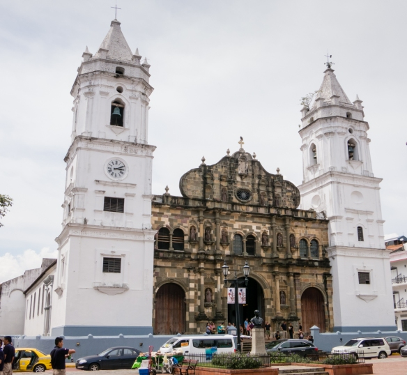 Catedral de Nuestra Senora de la Asuncion (built between 1688 and 1796) -- at the Plaza de Independencia, Casco Viejo (Old Ciry); Panama City, Panama