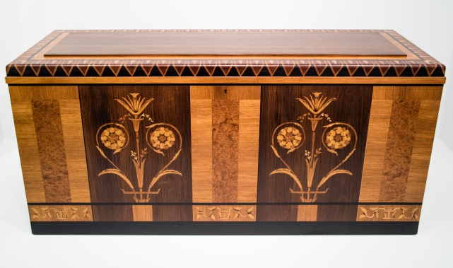 Chest, c. 1925, Carl Malmsten (Swedish, 1888 - 1972) Sweden, Inlaid wood, bronze; at the Wolfsonian, Miami Beach, Florida, USA