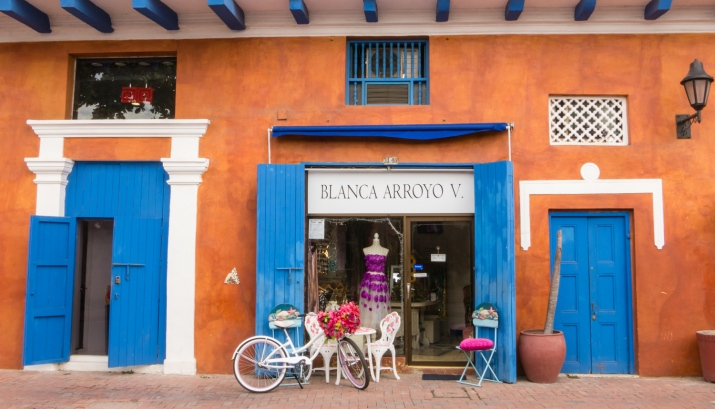 Colorful storefront in El Centro (Old City) Cartagena, Colombia