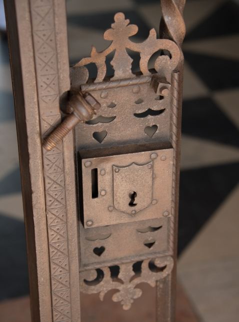 "Decorative gate lock at the Alcazar de Colón, the home oriinally built for Diego Colón, son of ""Christopher Columbus"" in the historic Zono Colonial,  Santo Domingo, Dominican Republic"