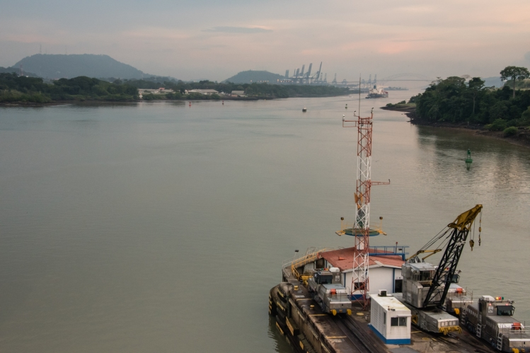 """Disconnected from the """"mules"""", we proceed under our own power towards the Bridge of the Americas and the Pacific Ocean; Panama Canal, Panama"""