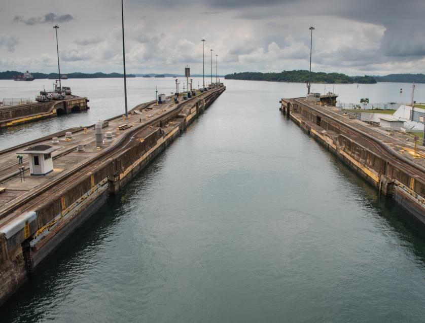 Entering Lake Gatun after exiting the upper Gatun lock, to then sail south across the lake; Panama Canal, Panama