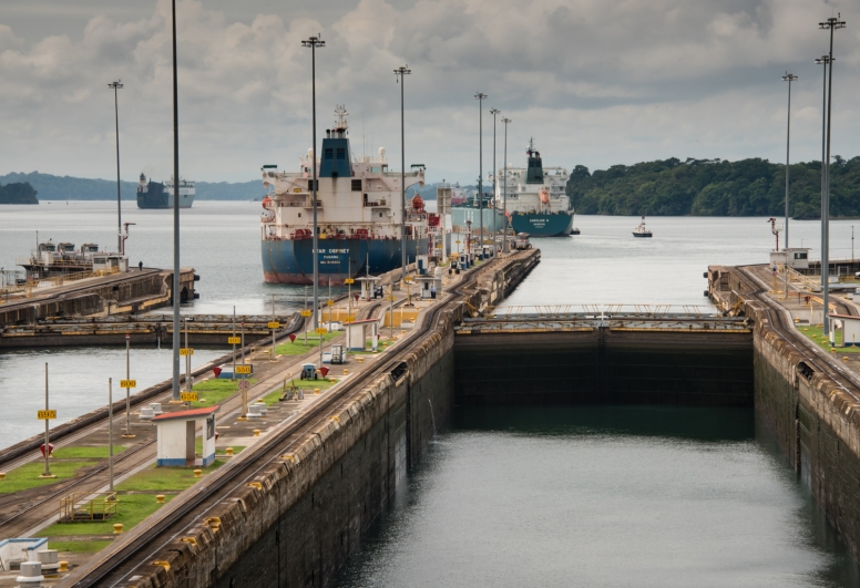 Entering the upper (third) Gatun lock; Lake Gatun is visible beyond the locks; Panama Canal, Panama
