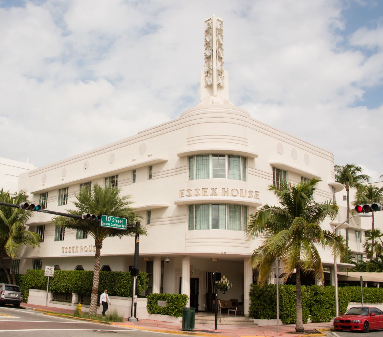 art deco walk in the south beach district of miami beach florida
