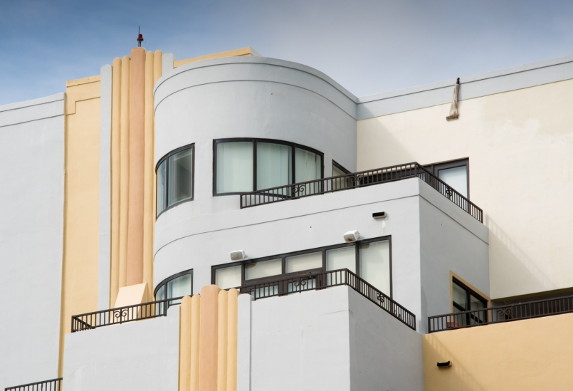 Exterior balconies of private residence, South Beach Art Deco District, Miami Beach, Florida, USA