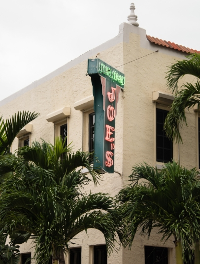 Exterior facade of Joe's Stone Crab Restaurant, Miami Beach, Florida, USA