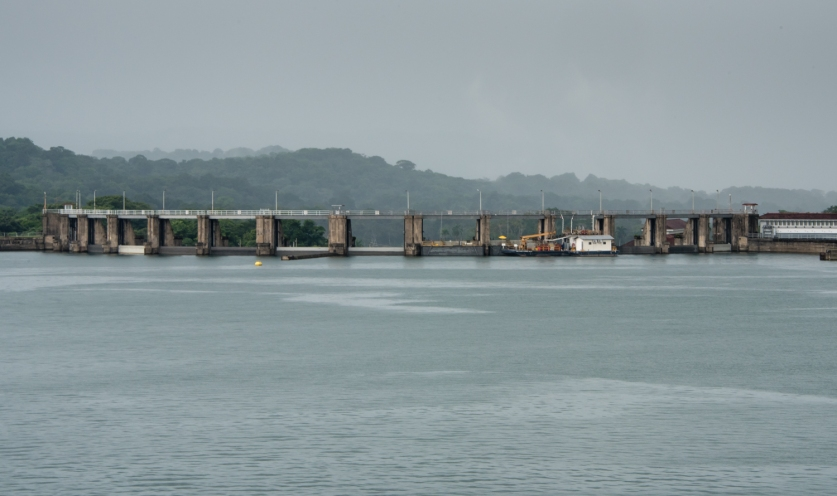 Gatun Dam (completed in 1913), which created Lake Gatun by damming up the Chagres River; Panama Canal, Panama