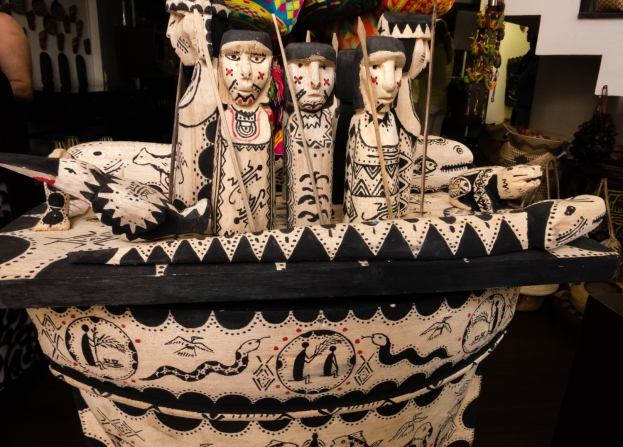 Hand carved and painted wooden sculptrues at Artesanias de Colombia in El Centro (Old City) Cartagena, Colombia
