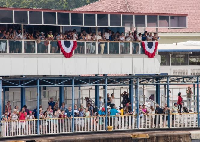 Land-based visitors' viewing platforms at the control building at the Gatun locks; Panama Canal, Panama
