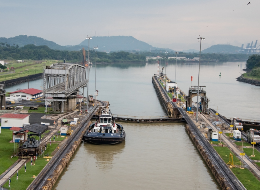 Looking forward from the bow of our ship as we get snuggled into the second Miraflores lock; Panama Canal, Panama