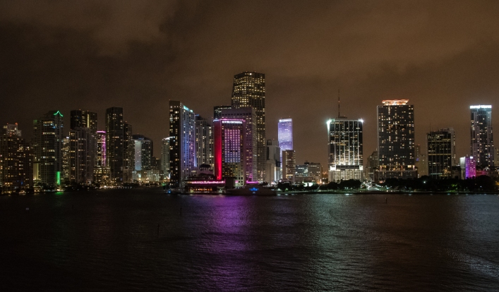 Nighttime view of the vibrant skyline from our ship, Miami, Florida, USA