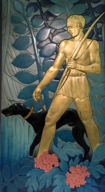 "Panels, ""La Chasse [The Hunt]"", 1935 by Jean Dunand (Swiss, 1877 - 1942, designer; Lacquer, gold leaf, paint, plaster; at the Wolfsonian, Miami Beach, Florida, USA"