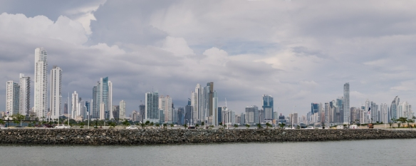 Panorama of new skyscrapers from Avenida Balboa-Cintra Costera to Punta Pacifica (2015); Panama City, Panama