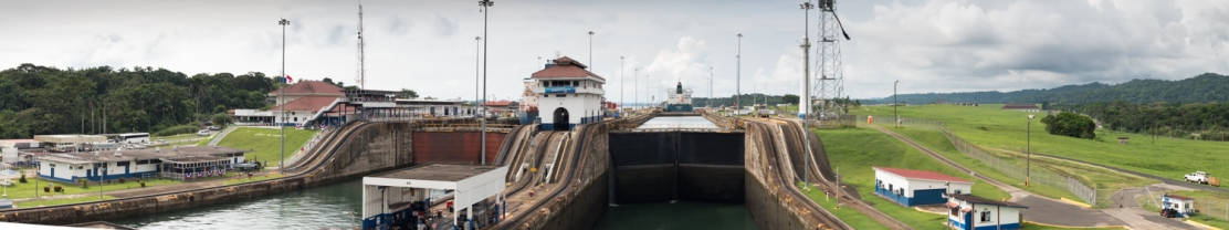 Panoramic view as our ship enters the middle Gatun lock; Panama Canal, Panama