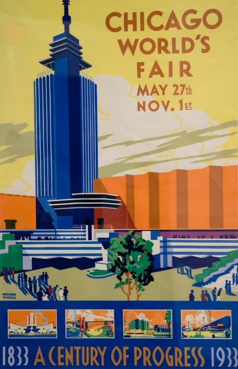Promotional poster for the Chicago World's Fair, 1933, at the Wolfsonian, Miami Beach, Florida, USA