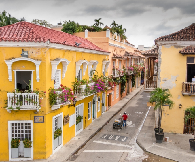 Residences in the Old City with beautifully decorated balconies viewed from atop the Old City wall, Cartagena, Colombia