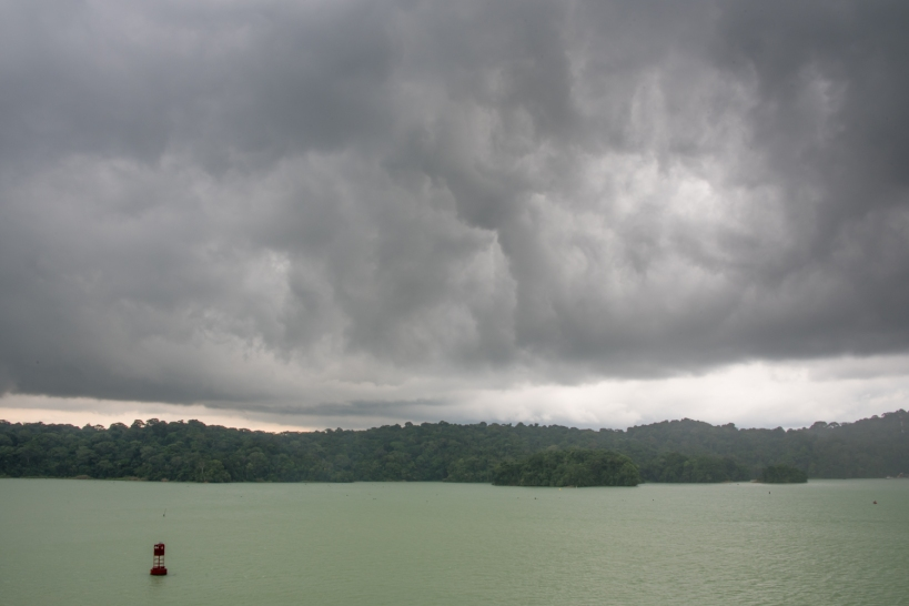 Sailing across Lake Gatun we saw some amazing lightning strikes (and BOOMING thunder), many less than 0.2 miles (0.32 km) from our ship; Panama Canal, Panama