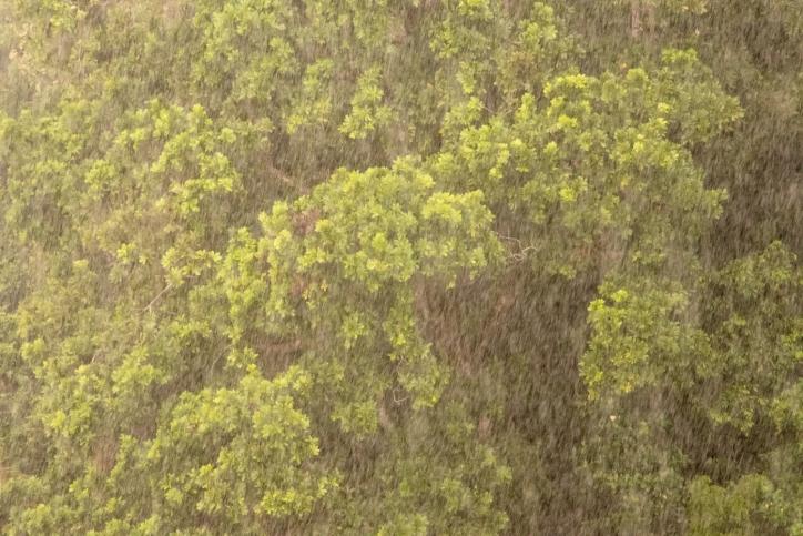 Torrential rains while sailing across Lake Gatun; Panama Canal, Panama