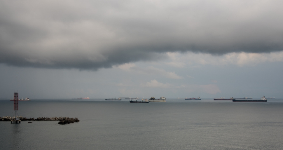 Traffic jam!! Ships lined up for entry to the Panama Canal at Colon, Panama, in the Caribbean Sea, approaching the Panama Canal, Panama