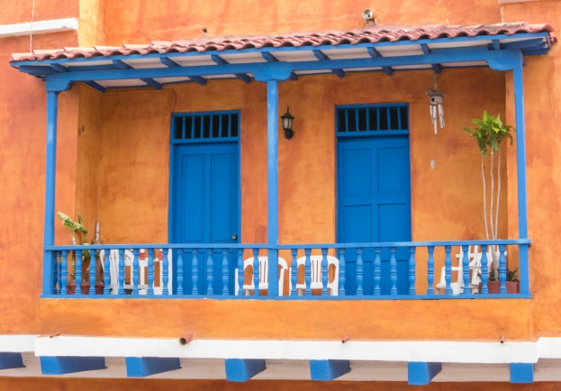 Typical residential balcony, Cartagena, Colombia