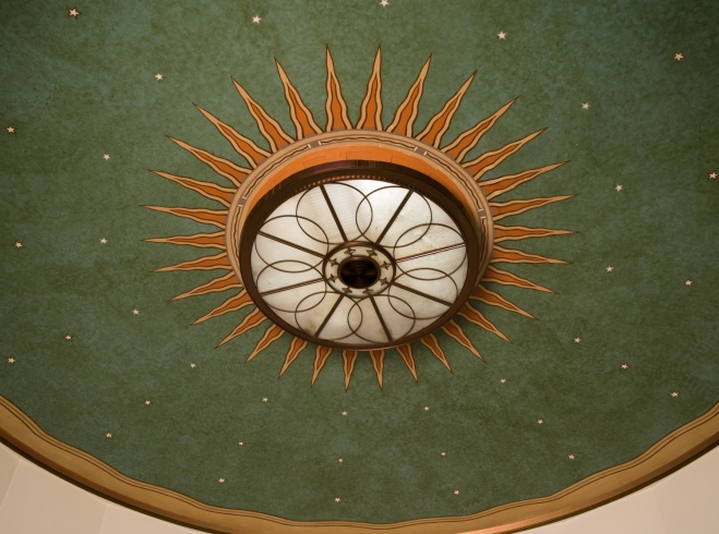 United States Post Office lobby ceiling, South Beach Art Deco District, Miami Beach, Florida, USA