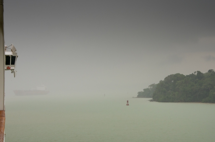 With the visibility on Lake Gatun dropping close to zero, it was comforting to know our experienced captain had excellent radar and GPS systems for navigating; Panama Canal, Panama
