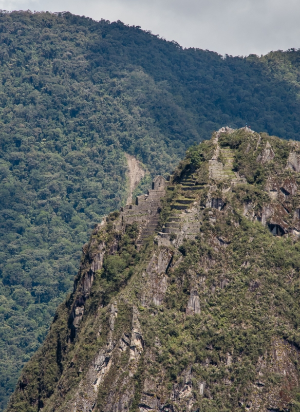 A close up view of the hiking steps carved near the top of Huayna Picchu mountain, adjacent to Machu Picchu, Peru