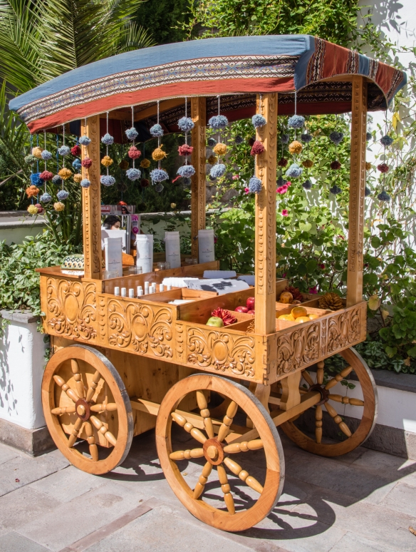 A refreshment stand by the swimming pool, near the restaurant, at Belmond Palacio Nazarenas (Hotel), Cuzco, Peru