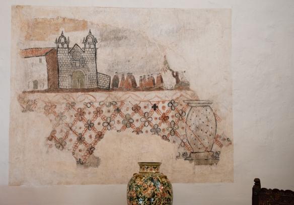 A surviving original 16th century convent courtyard fresco, at Belmond Palacio Nazarenas (Hotel), Cuzco, Peru