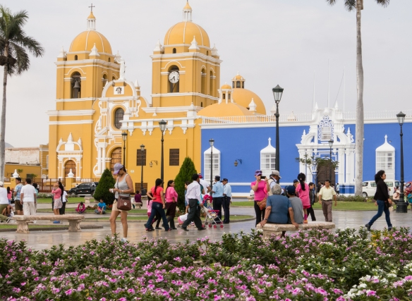 A view of the Catedral de Santa María, (Cathedral of Santa Maria) from the Plaza de Armas (the main city square) in the center of Trujillo, Peru