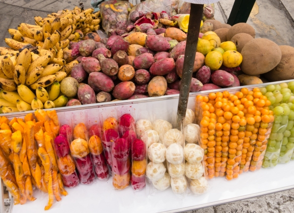 Another street cart, this one with local fruits and vegetables, near Plaza de Armas, Trujillo, Peru