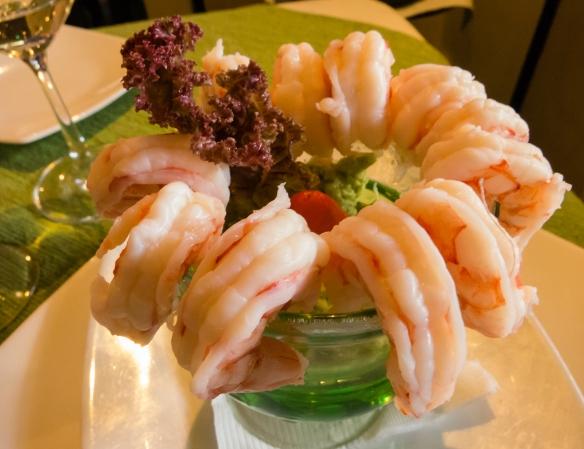 Camarones (prawns) and avacado salad starter at El Caracol Azul restaurant, Guayaquil, Ecuador