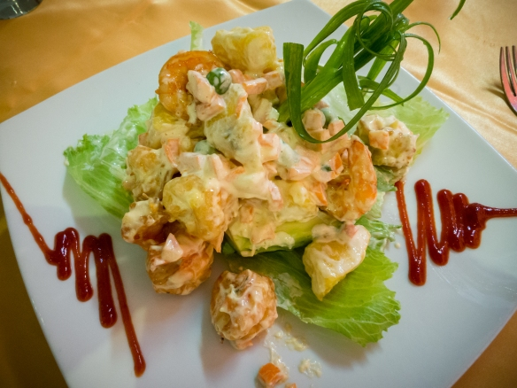 Camarones (prawns), Peruvian potatoes and avocado salad (starter) at El Mochica Restaurant, Trujillo, Peru
