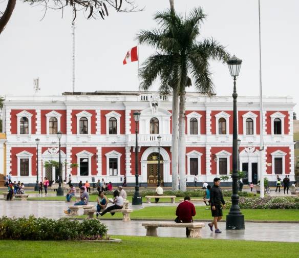 Casa de Urquiaga, a 16th century mansion rebuilt after the 1619 eqrthquake, across from Plaza de Armas, Trujillo, Peru