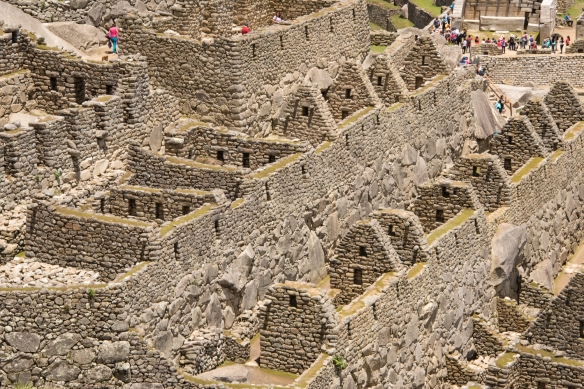 Closeup of terraced buildings in the Upper Urban Sector of Machu Picchu, Peru