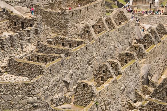 Closeup of terraced buildings in the Upper Urban Sector of Machu Picchu, Peru