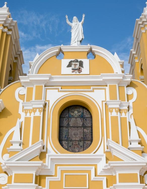 Closeup of the entry facade of Catedral de Santa María, (Cathedral of Santa Maria), constructed 1647-1666, Trujillo, Peru